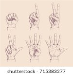 a set of six 6 hands counting... | Shutterstock .eps vector #715383277