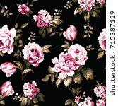 shabby chic vintage roses ... | Shutterstock .eps vector #715387129