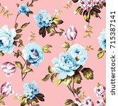 shabby chic vintage roses ... | Shutterstock .eps vector #715387141