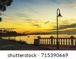 arousa bay coastline at dusk... | Shutterstock . vector #715390669