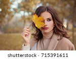 perfect autumn woman model with ... | Shutterstock . vector #715391611