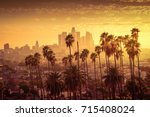 beautiful sunset of los angeles ... | Shutterstock . vector #715408024