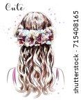 hand drawn long hair girl in... | Shutterstock .eps vector #715408165