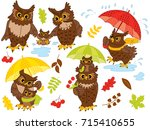 Vector Autumn Set With Owls An...
