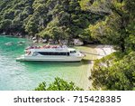 Small photo of Abel Tasman Scenic Cruises, New Zealand - Feb 26, 2016. A Water Taxi Was Full of Tourists from Kaiteriteri to Medlands Beach.
