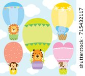 Stock vector animals in hot air balloons vector illustration set lion tiger monkey elephant and dog on cute 715432117