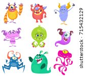 cartoon monsters. vector set of ... | Shutterstock .eps vector #715432129