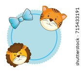 cute lion with tiger card | Shutterstock .eps vector #715433191