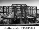 closed footbridge in boston's... | Shutterstock . vector #715436341