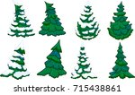 cartoon conifer trees with and... | Shutterstock .eps vector #715438861