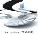 Various Staircases with open door to a semi cloudy blue sky. 3D illustration - stock photo