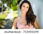 all american female brunette... | Shutterstock . vector #715453195