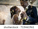 newlywed african descent couple ... | Shutterstock . vector #715461961