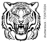 angry tiger head  hand drawn... | Shutterstock .eps vector #715471024