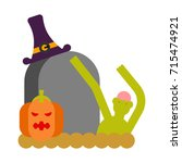zombie and grave and pumpkin.... | Shutterstock .eps vector #715474921