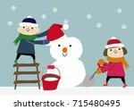 winter image.snowman with... | Shutterstock .eps vector #715480495