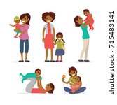 family  mothers and children | Shutterstock .eps vector #715483141