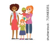 family  mothers and children | Shutterstock .eps vector #715483351