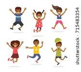 kids jumping  having fun | Shutterstock .eps vector #715483354