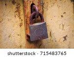old house door the rust is... | Shutterstock . vector #715483765