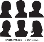 set of silhouettes of heads ... | Shutterstock .eps vector #71548861