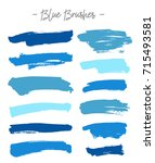 vector brushes. set of blue ink ... | Shutterstock .eps vector #715493581