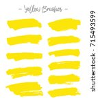 vector brushes. set of yellow... | Shutterstock .eps vector #715493599