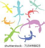 colorful lizards | Shutterstock .eps vector #715498825