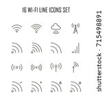 wi fi icon set. collection of...