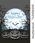 jack o lantern glowing at... | Shutterstock .eps vector #715500205