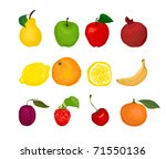 fruits set | Shutterstock .eps vector #71550136