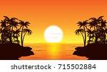 tropical sunset glow vector... | Shutterstock .eps vector #715502884