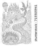 fantasy landscape with dragon....   Shutterstock .eps vector #715505941