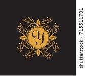 letter y elegant floral... | Shutterstock .eps vector #715511731