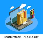 online education isometric... | Shutterstock .eps vector #715516189