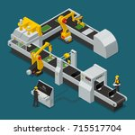 colored electronics factory... | Shutterstock .eps vector #715517704