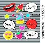 sticker  badge  pin  patch set...   Shutterstock .eps vector #715527079