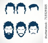 hipster vector set  hair and... | Shutterstock .eps vector #715529305