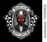 the devil of biker in t shirt...   Shutterstock .eps vector #715534621