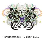 ornate floral butterfly with... | Shutterstock .eps vector #715541617