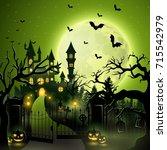 vector illustration of creepy... | Shutterstock .eps vector #715542979