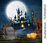 vector illustration of scary... | Shutterstock .eps vector #715543015