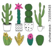 hand drawn cacti. vector.... | Shutterstock .eps vector #715555435