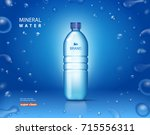 bottle with clean mineral water.... | Shutterstock .eps vector #715556311
