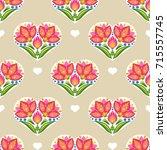 floral vector seamless pattern...   Shutterstock .eps vector #715557745