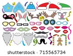 christmas  new year  party set. ... | Shutterstock .eps vector #715565734