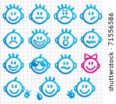 set of  faces with various... | Shutterstock .eps vector #71556586