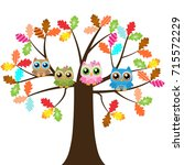 owls on a tree | Shutterstock .eps vector #715572229