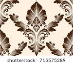 vector damask seamless pattern... | Shutterstock .eps vector #715575289