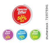 special offer 50  off labels ... | Shutterstock .eps vector #715575541
